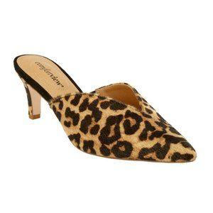 Leopard Faux Calf Mule Heels